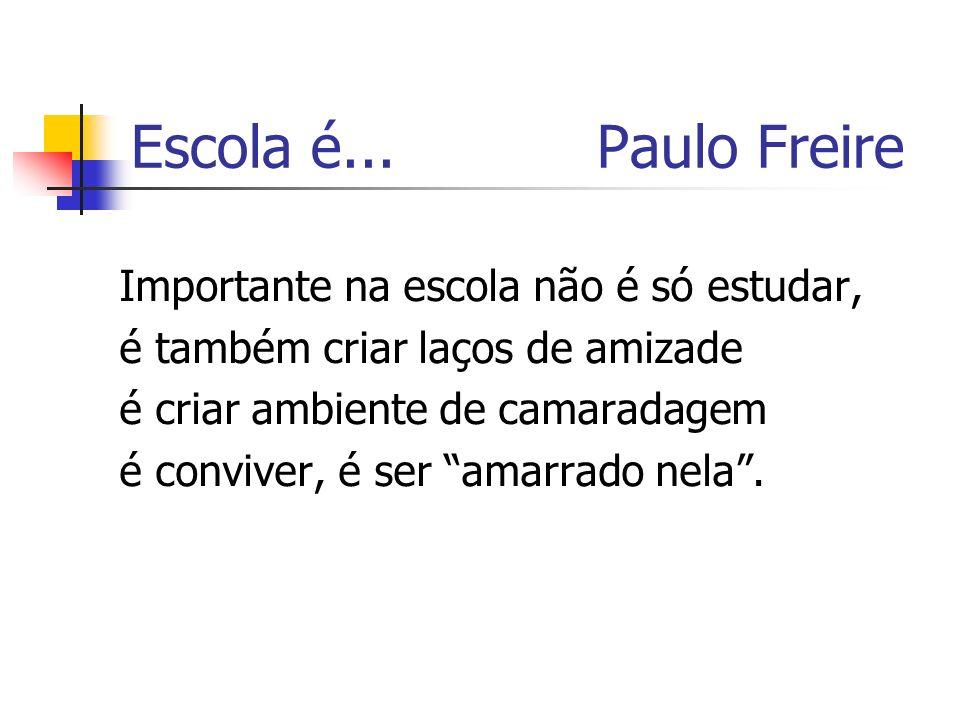 Escola é... Paulo Freire Importante na escola não é só estudar,