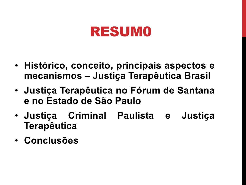 RESUM0 Histórico, conceito, principais aspectos e mecanismos – Justiça Terapêutica Brasil.