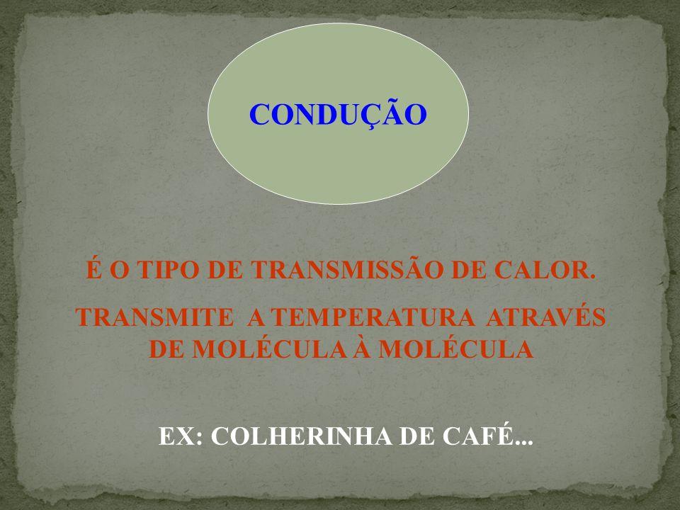 CONDUÇÃO É O TIPO DE TRANSMISSÃO DE CALOR.