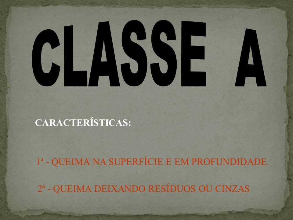 CLASSE A CARACTERÍSTICAS: 1ª - QUEIMA NA SUPERFÍCIE E EM PROFUNDIDADE