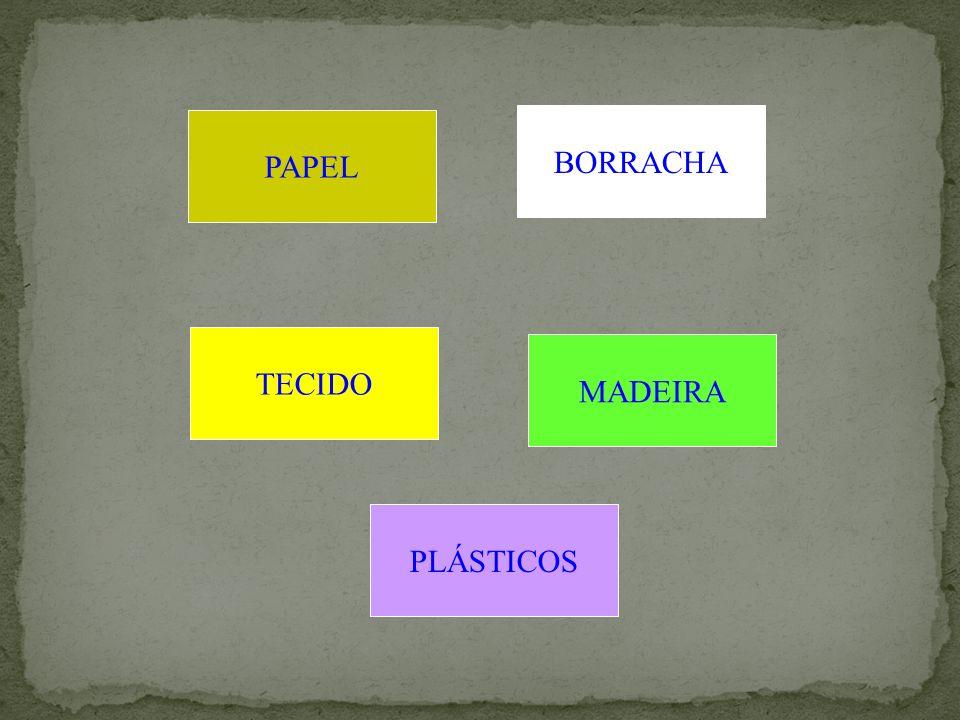 PAPEL BORRACHA TECIDO MADEIRA PLÁSTICOS