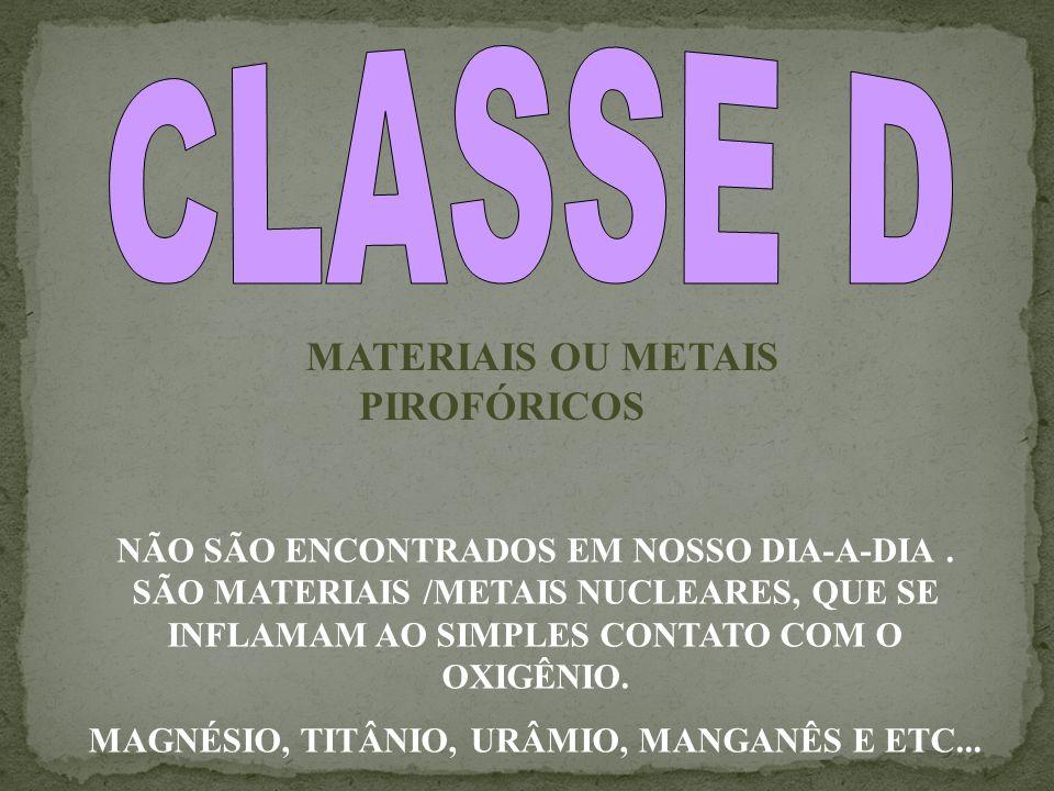 CLASSE D MATERIAIS OU METAIS PIROFÓRICOS