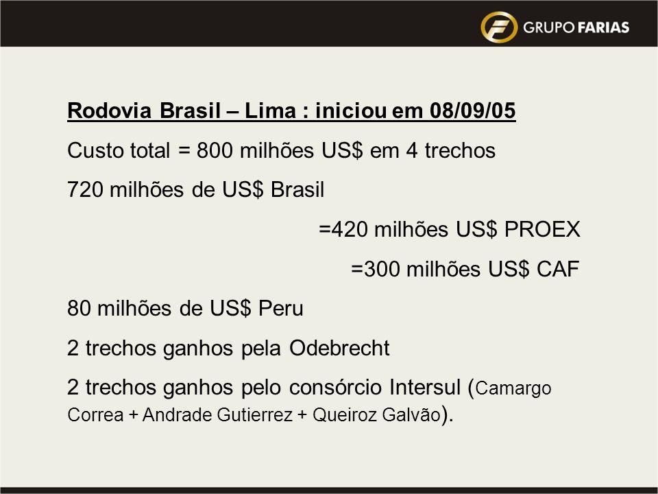 Rodovia Brasil – Lima : iniciou em 08/09/05