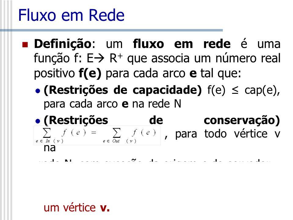 Fluxo em Rede Definição: um fluxo em rede é uma função f: E R+ que associa um número real positivo f(e) para cada arco e tal que: