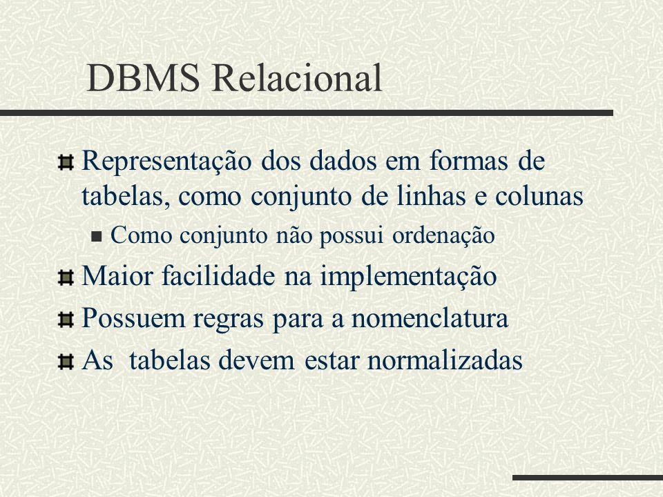 DBMS Relacional Representação dos dados em formas de tabelas, como conjunto de linhas e colunas. Como conjunto não possui ordenação.