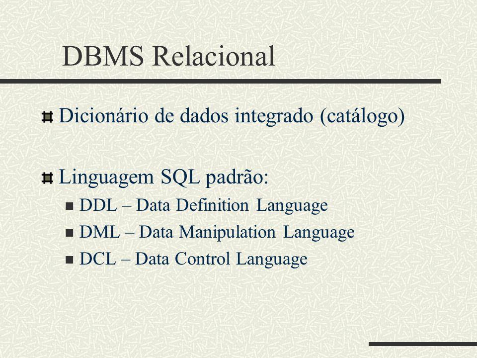 DBMS Relacional Dicionário de dados integrado (catálogo)