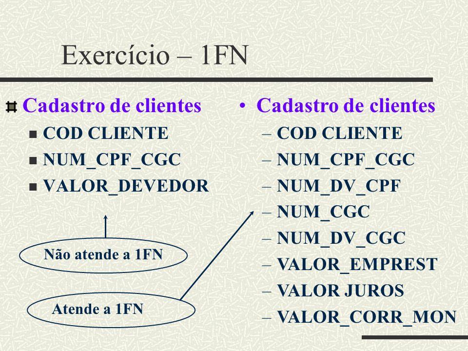 Exercício – 1FN Cadastro de clientes Cadastro de clientes COD CLIENTE