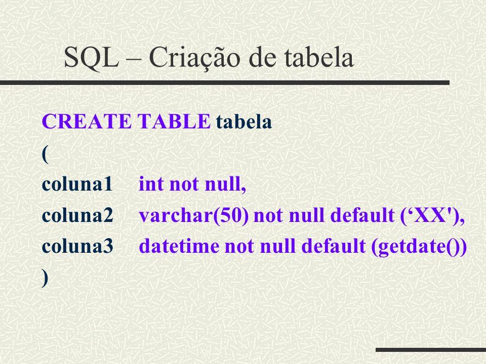 SQL – Criação de tabela CREATE TABLE tabela ( coluna1 int not null,