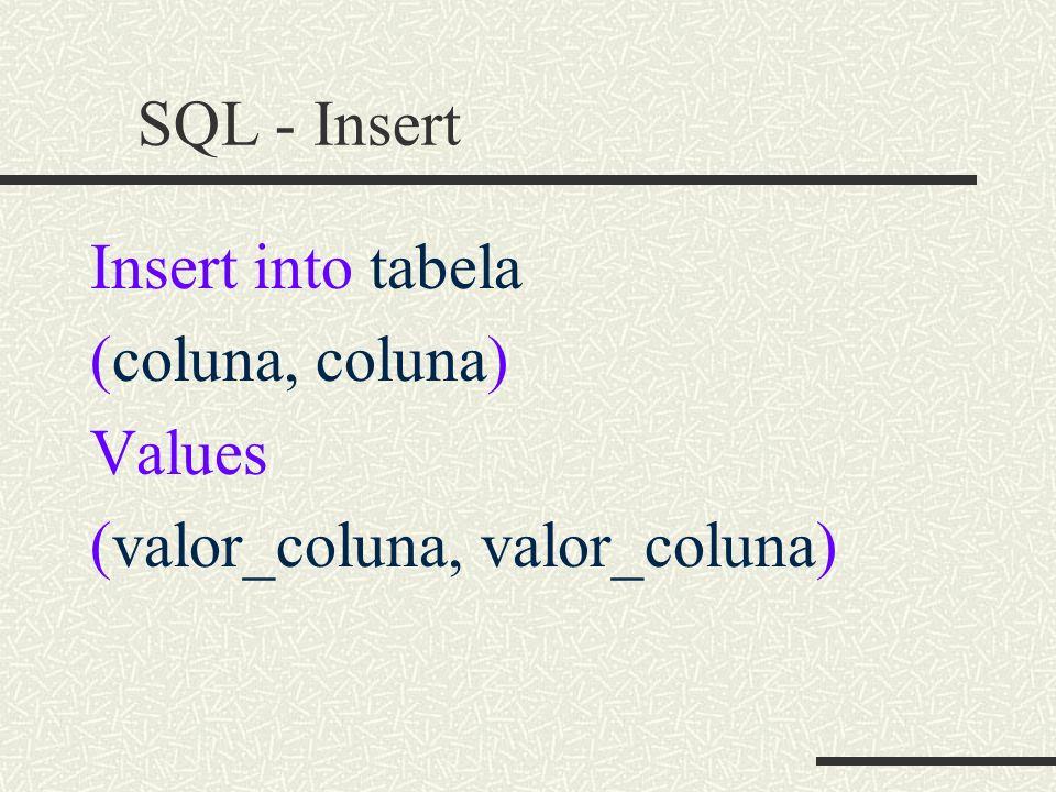 SQL - Insert Insert into tabela (coluna, coluna) Values (valor_coluna, valor_coluna)