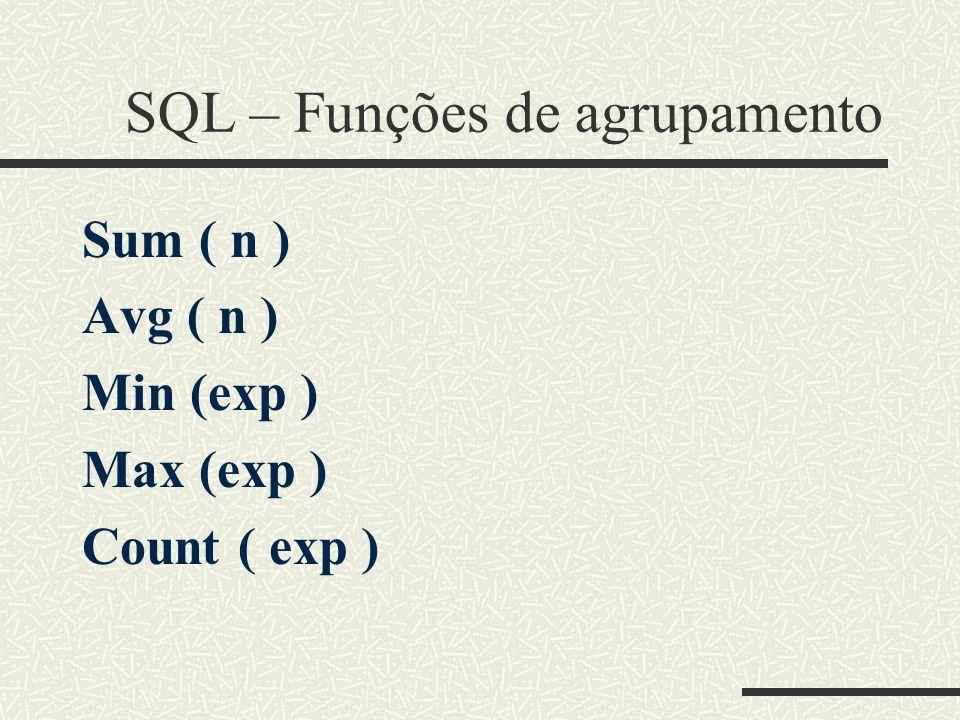 SQL – Funções de agrupamento