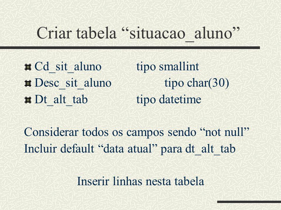 Criar tabela situacao_aluno