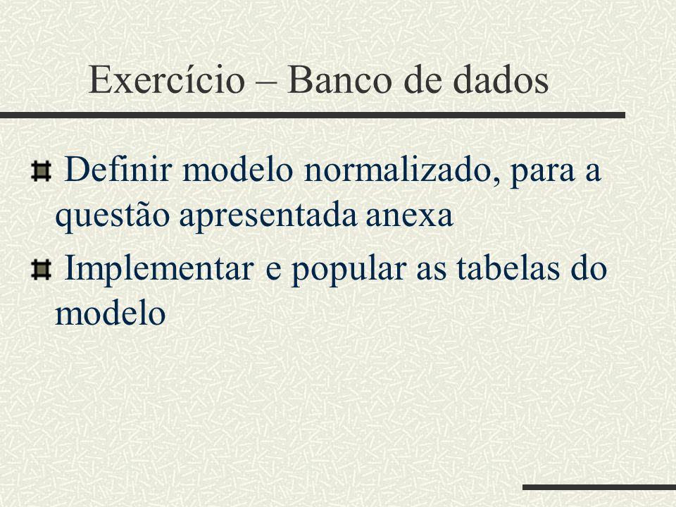 Exercício – Banco de dados