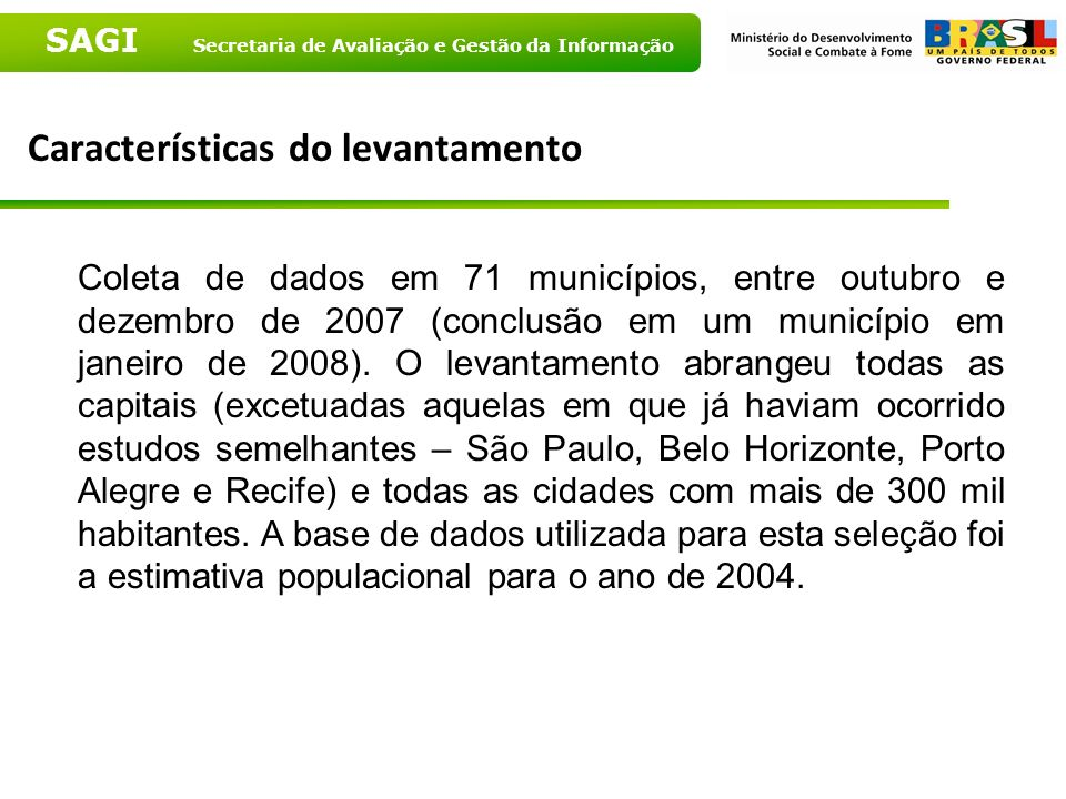 Características do levantamento