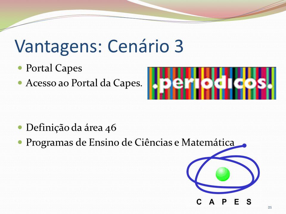 Vantagens: Cenário 3 Portal Capes Acesso ao Portal da Capes.