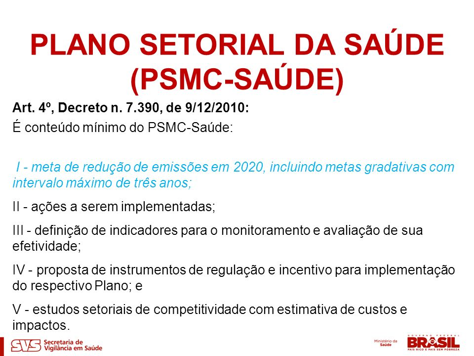 PLANO SETORIAL DA SAÚDE (PSMC-SAÚDE)
