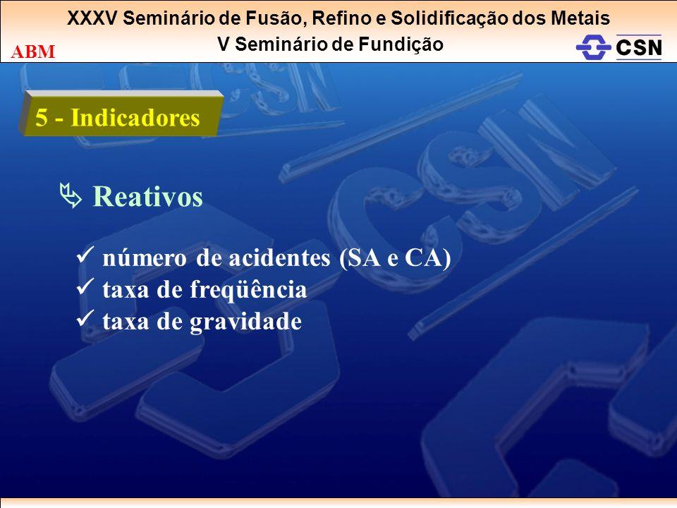  Reativos 5 - Indicadores  número de acidentes (SA e CA)