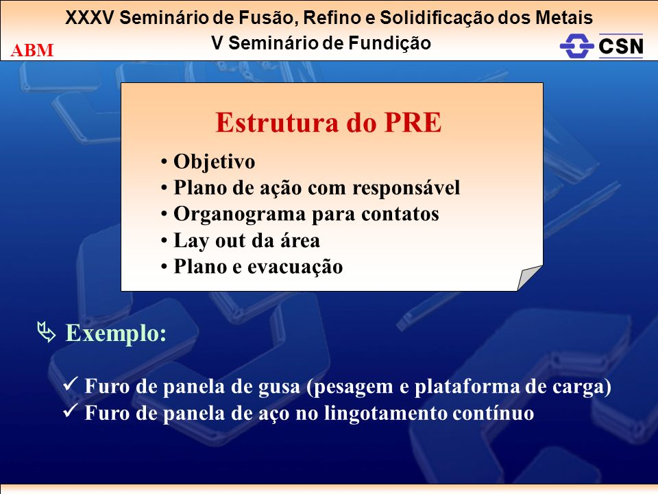 Estrutura do PRE  Exemplo: Objetivo Plano de ação com responsável