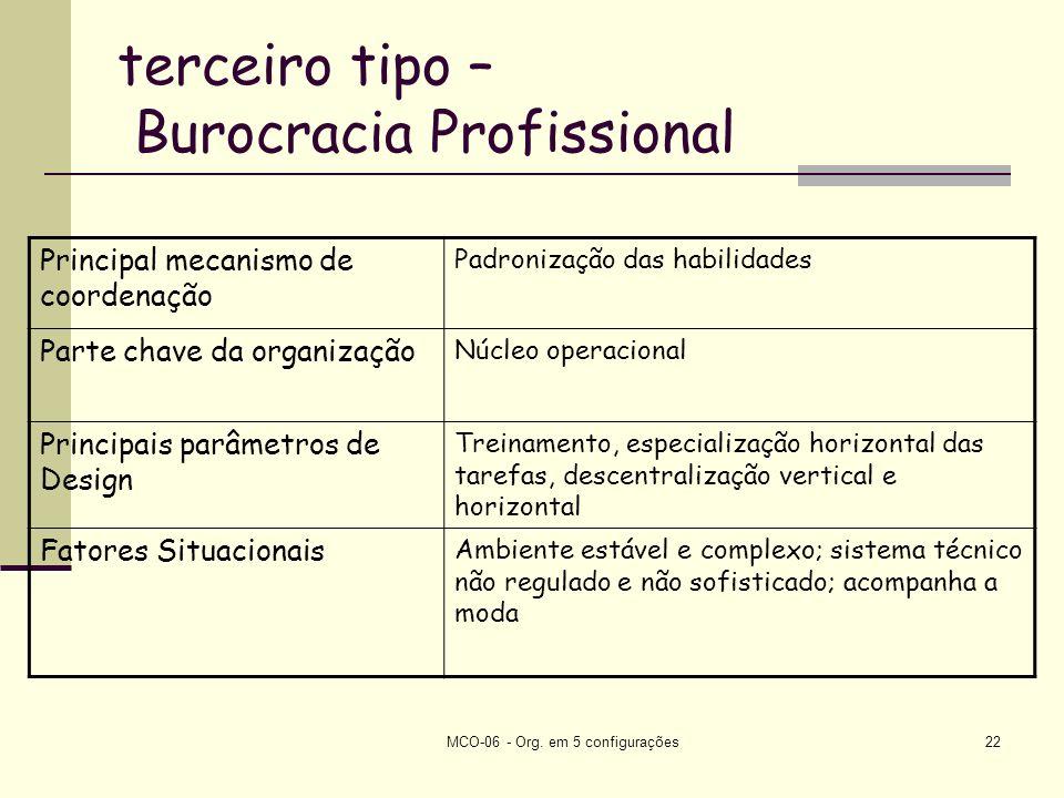 terceiro tipo – Burocracia Profissional