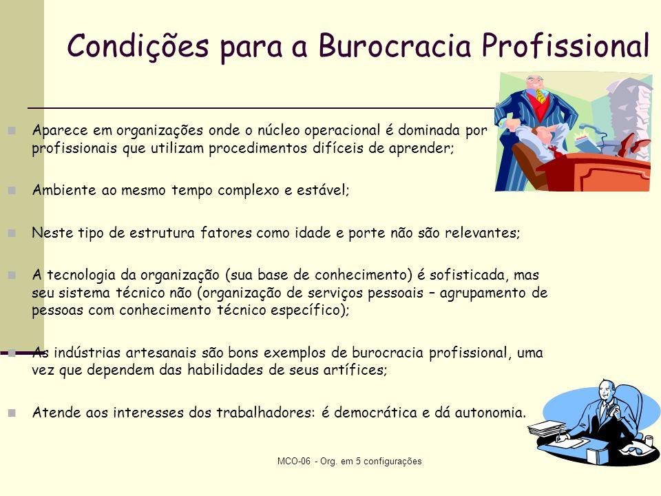 Condições para a Burocracia Profissional