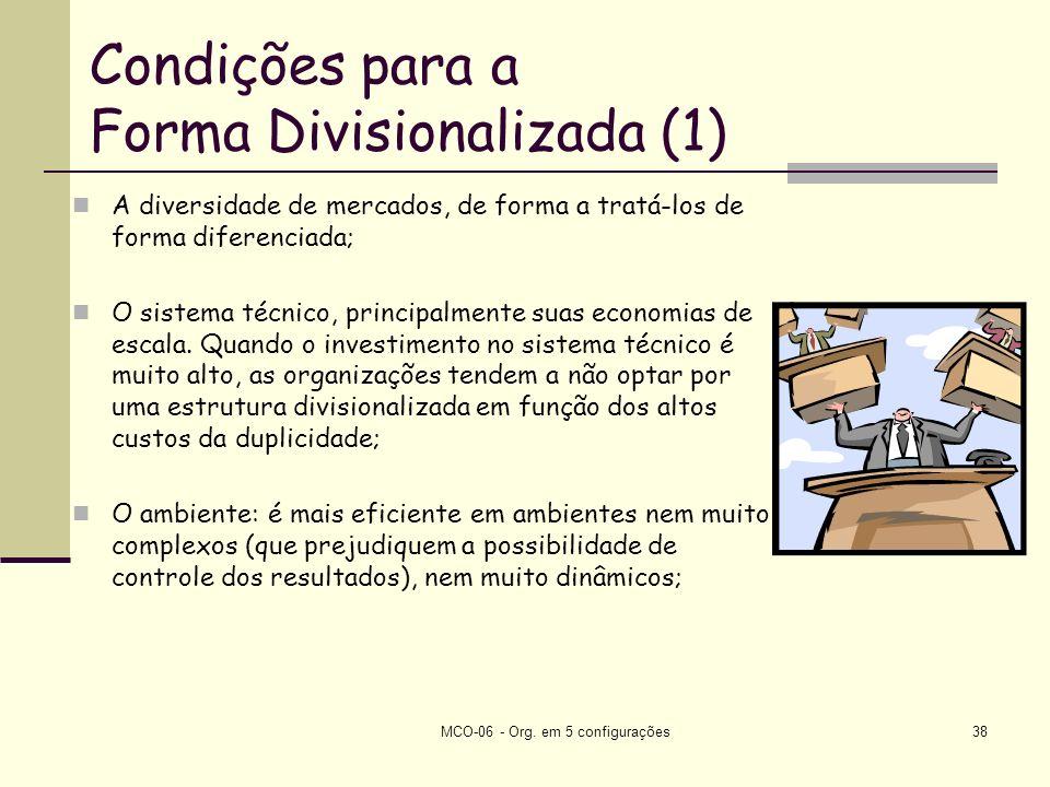 Condições para a Forma Divisionalizada (1)