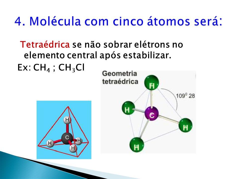 Tetraédrica se não sobrar elétrons no elemento central após estabilizar.