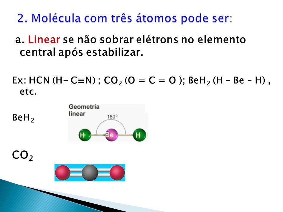 a. Linear se não sobrar elétrons no elemento central após estabilizar.
