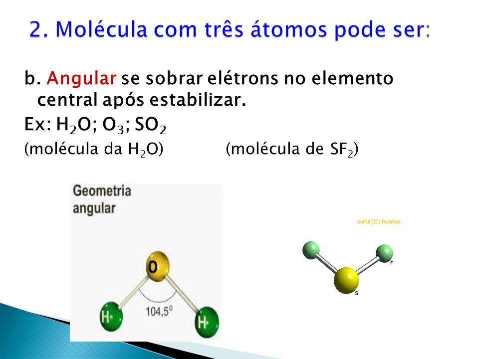 b. Angular se sobrar elétrons no elemento central após estabilizar.