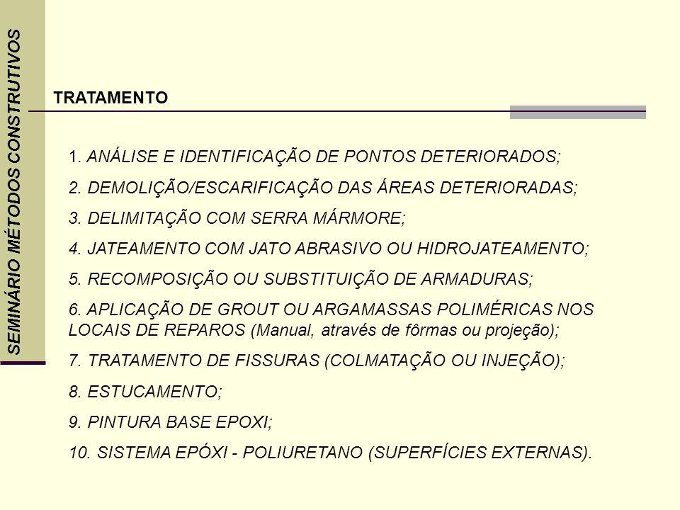 TRATAMENTO. ANÁLISE E IDENTIFICAÇÃO DE PONTOS DETERIORADOS; 2. DEMOLIÇÃO/ESCARIFICAÇÃO DAS ÁREAS DETERIORADAS;