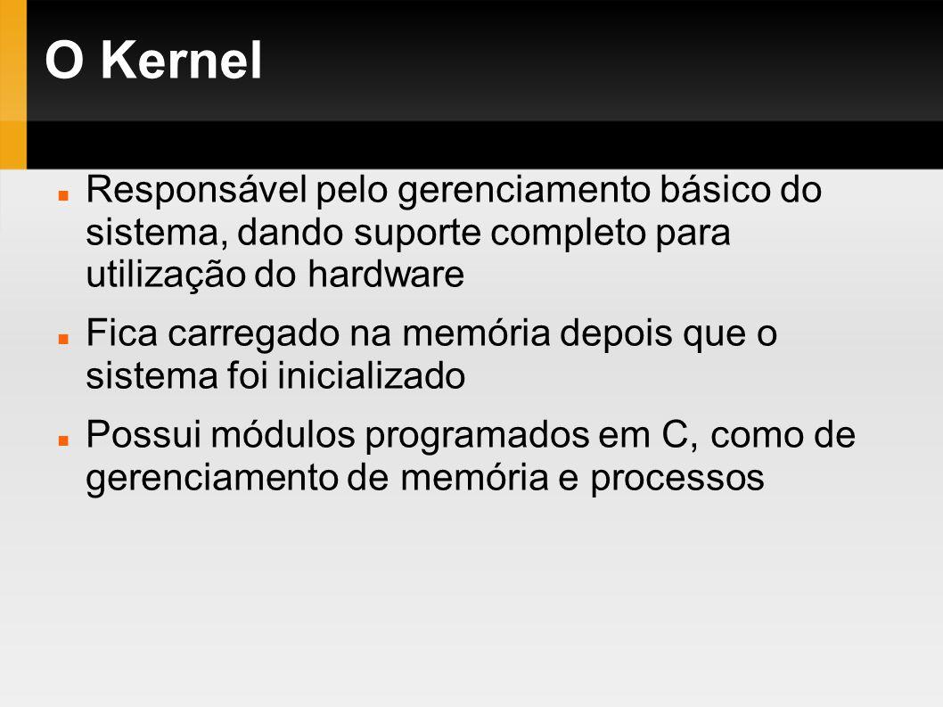 O KernelResponsável pelo gerenciamento básico do sistema, dando suporte completo para utilização do hardware.