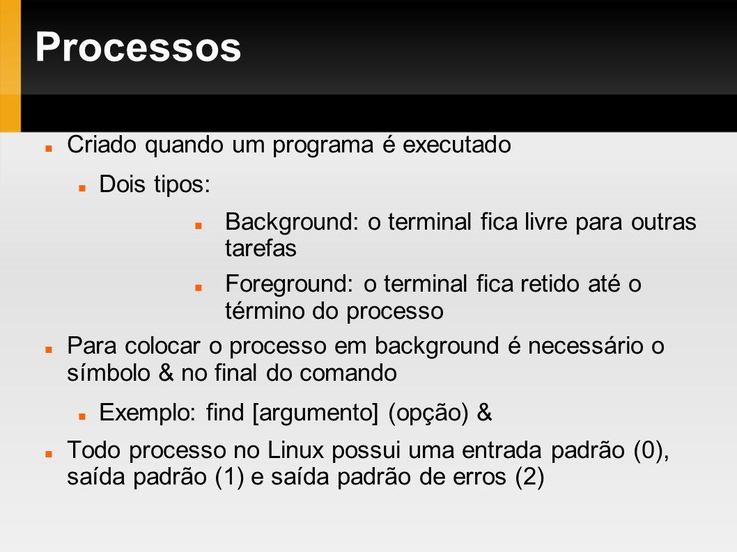 Processos Criado quando um programa é executado Dois tipos: