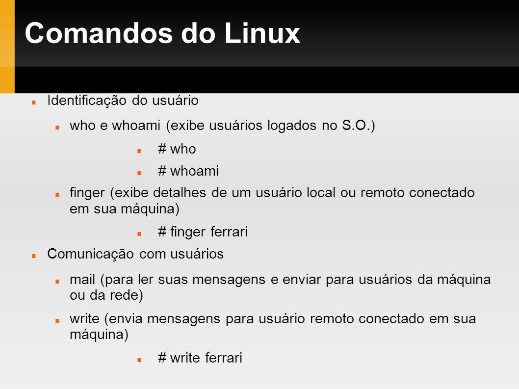 Comandos do Linux Identificação do usuário