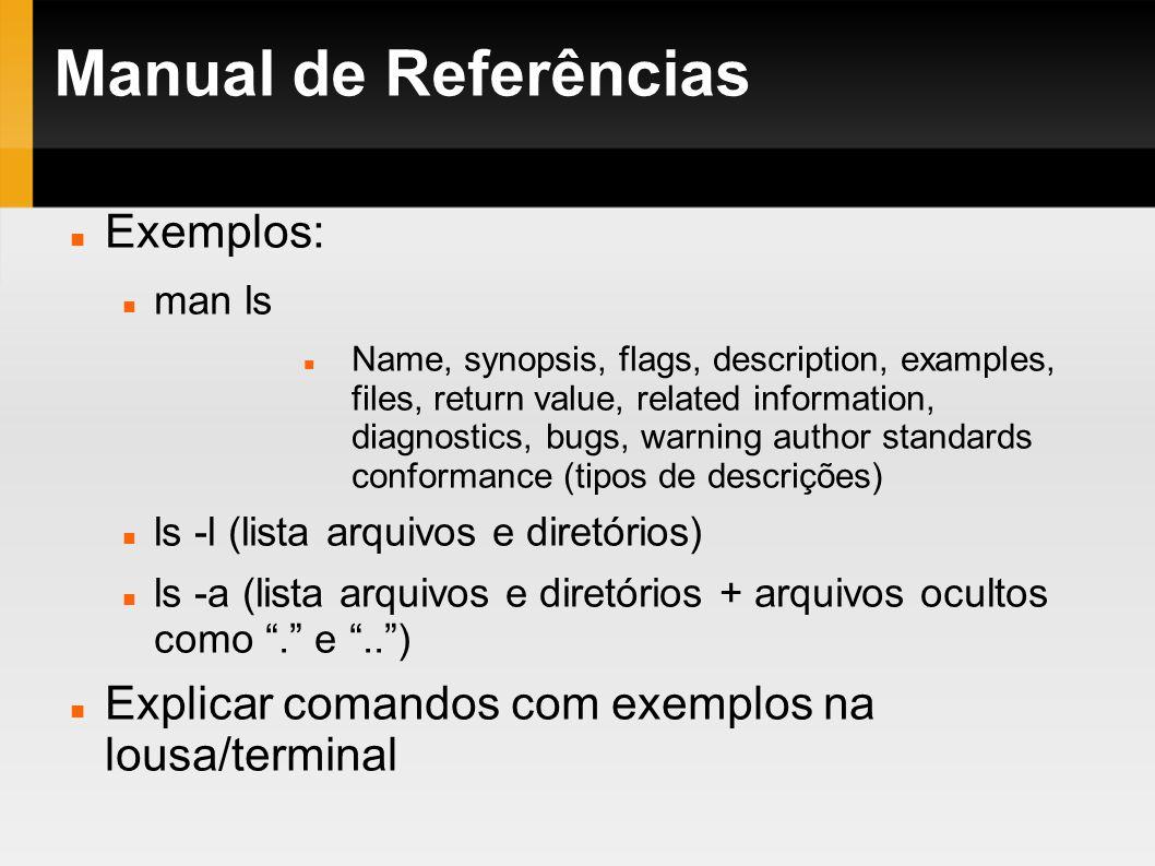 Manual de Referências Exemplos: