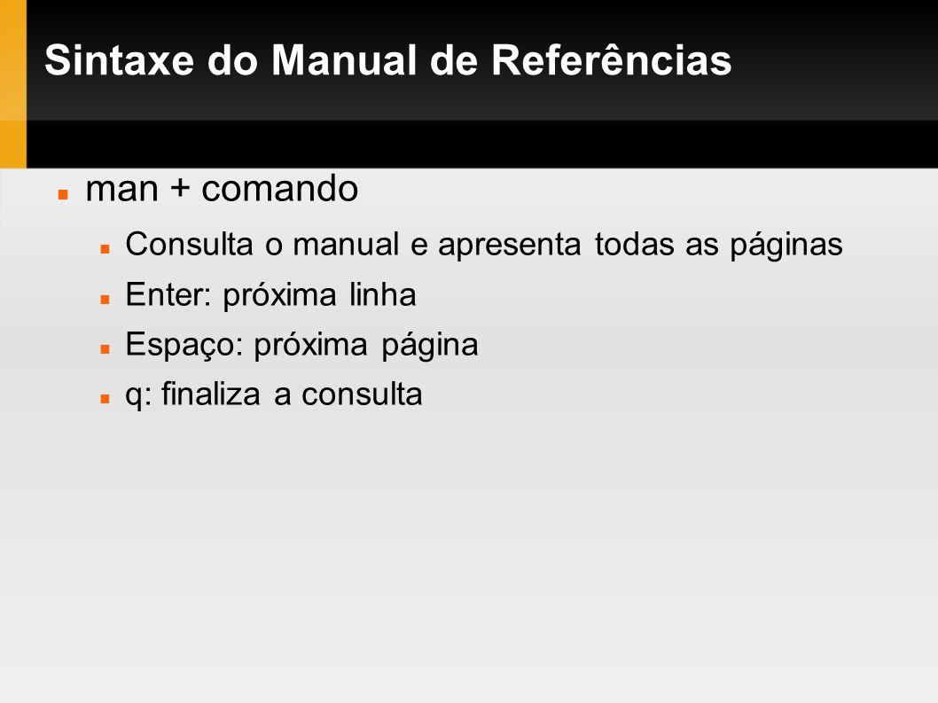 Sintaxe do Manual de Referências