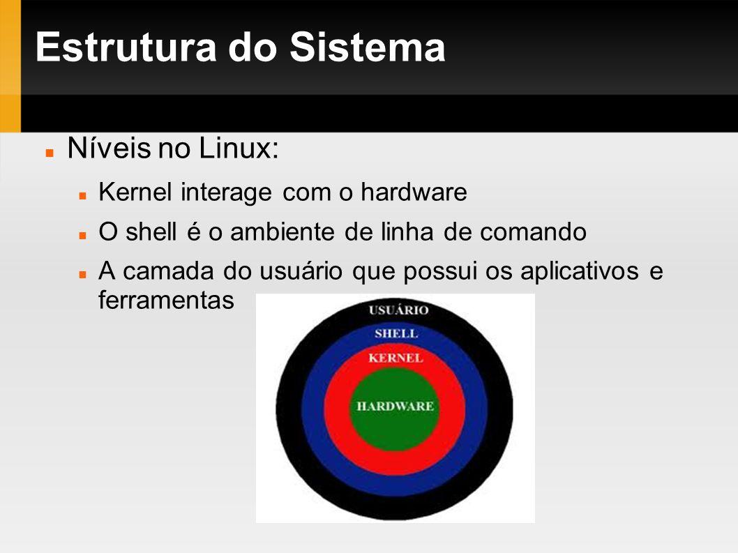 Estrutura do Sistema Níveis no Linux: Kernel interage com o hardware