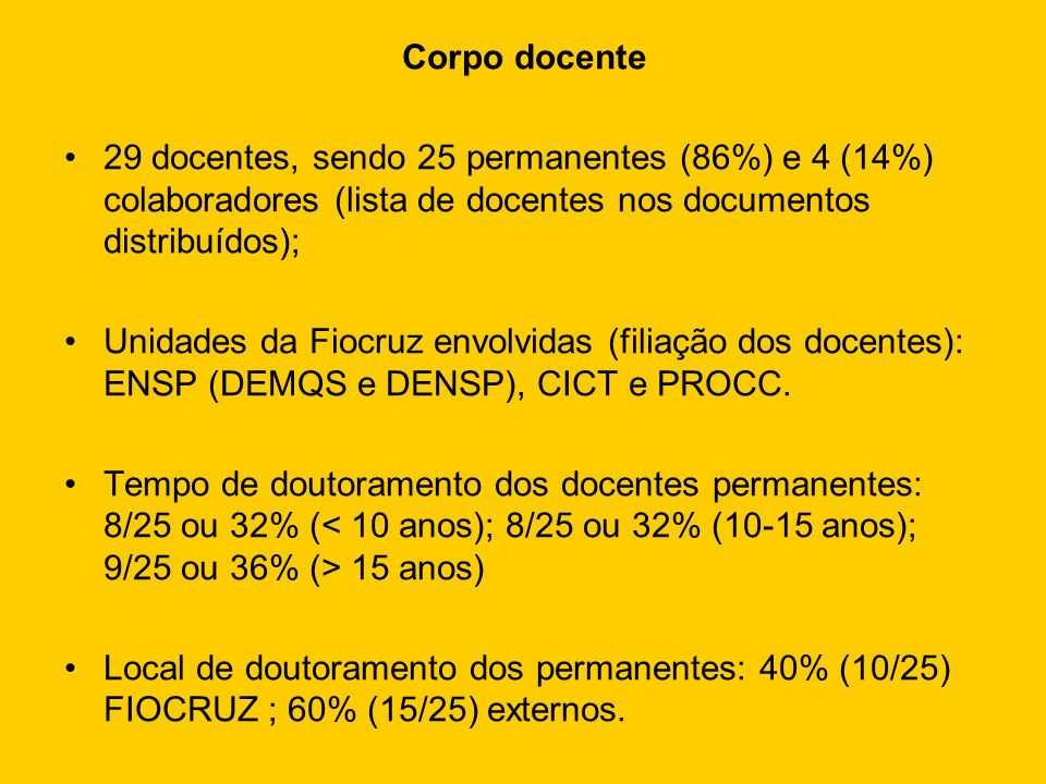 Corpo docente29 docentes, sendo 25 permanentes (86%) e 4 (14%) colaboradores (lista de docentes nos documentos distribuídos);