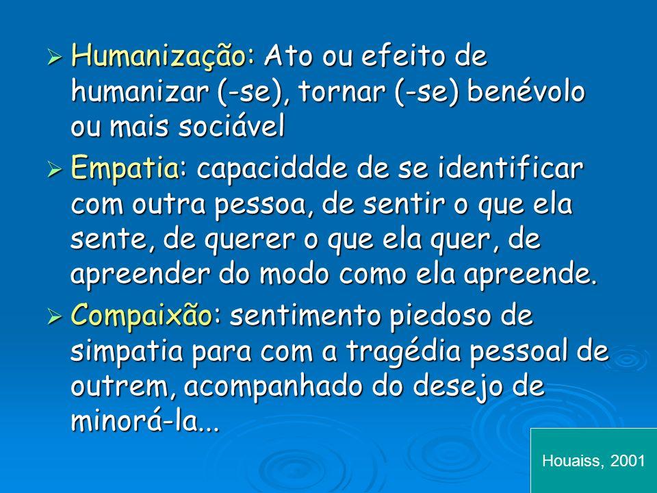 Humanização: Ato ou efeito de humanizar (-se), tornar (-se) benévolo ou mais sociável