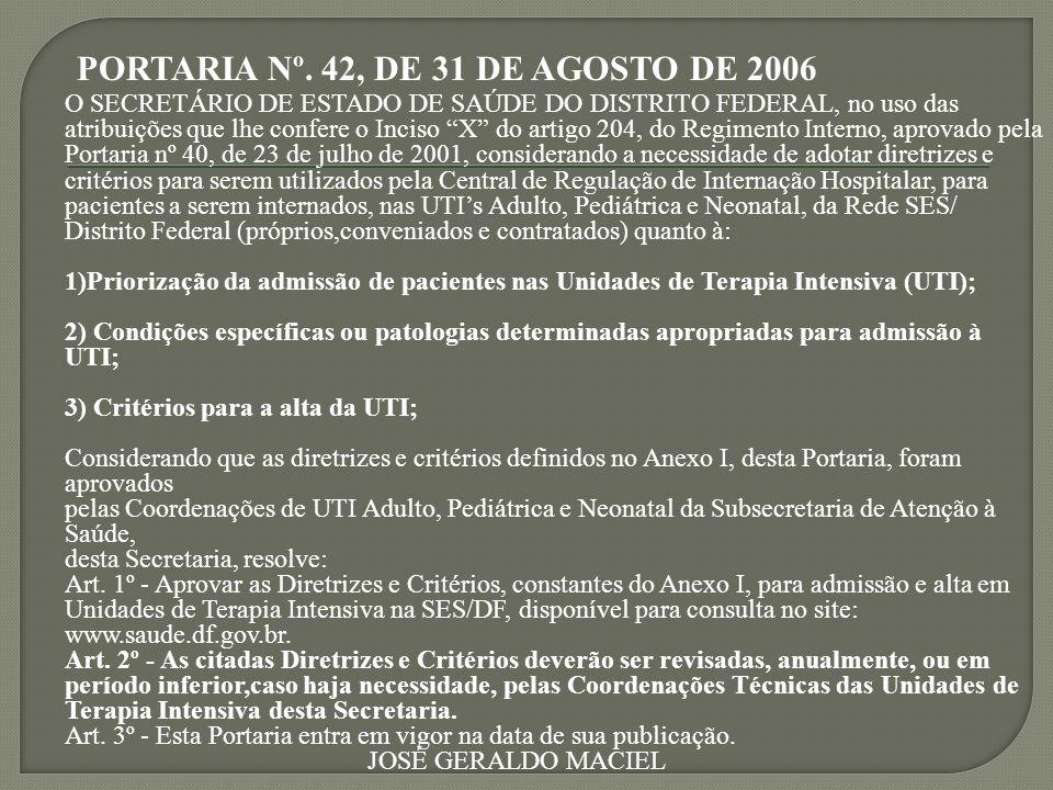 PORTARIA Nº. 42, DE 31 DE AGOSTO DE 2006