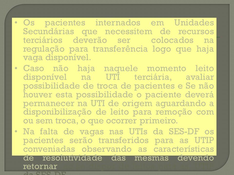 Os pacientes internados em Unidades Secundárias que necessitem de recursos terciários deverão ser colocados na regulação para transferência logo que haja vaga disponível.