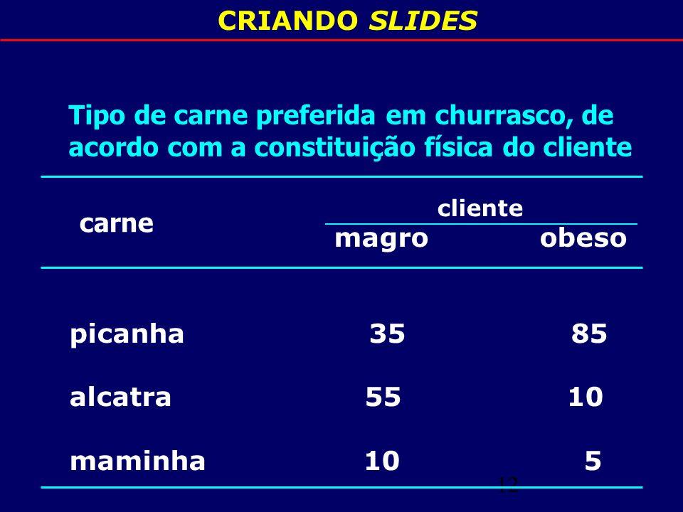 CRIANDO SLIDES Tipo de carne preferida em churrasco, de acordo com a constituição física do cliente.