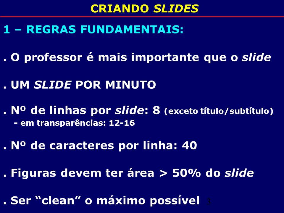 CRIANDO SLIDES 1 – REGRAS FUNDAMENTAIS: . O professor é mais importante que o slide. . UM SLIDE POR MINUTO.