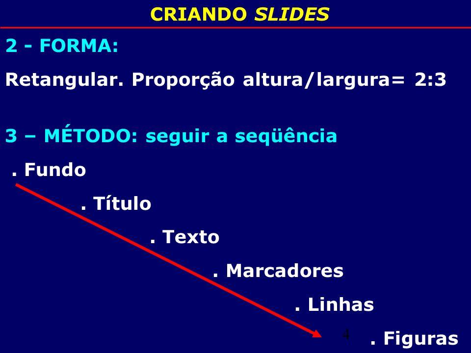 CRIANDO SLIDES 2 - FORMA: Retangular. Proporção altura/largura= 2:3. 3 – MÉTODO: seguir a seqüência.