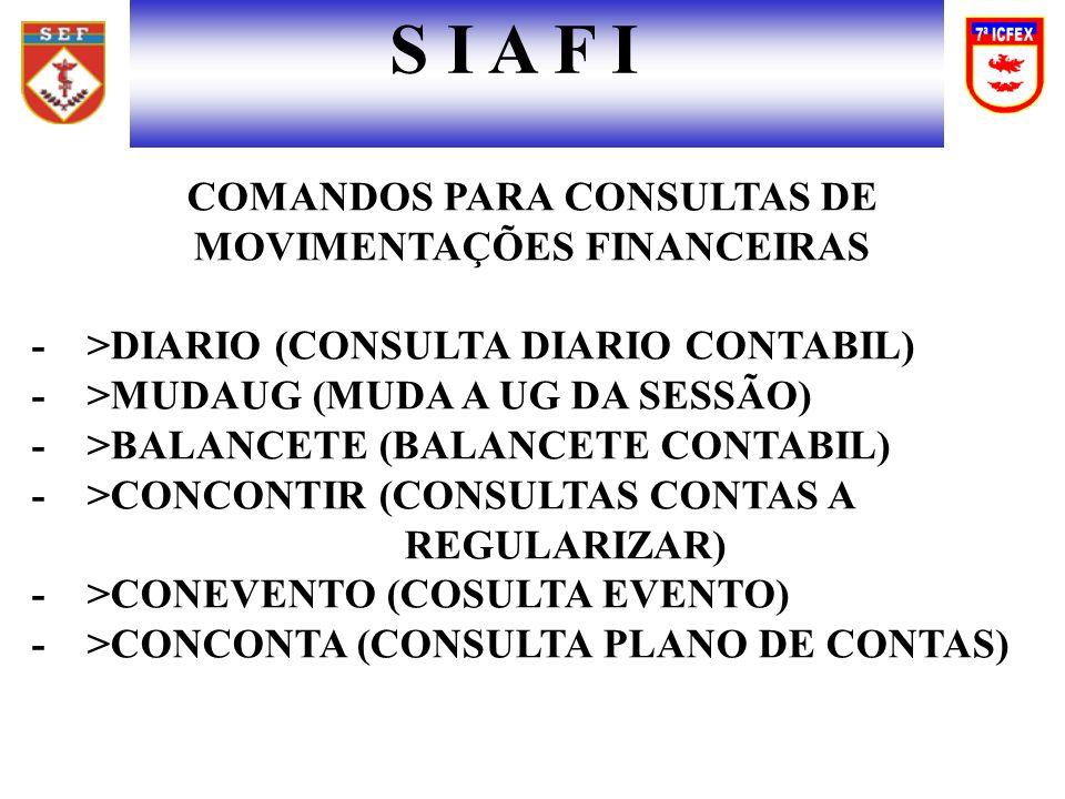 COMANDOS PARA CONSULTAS DE MOVIMENTAÇÕES FINANCEIRAS
