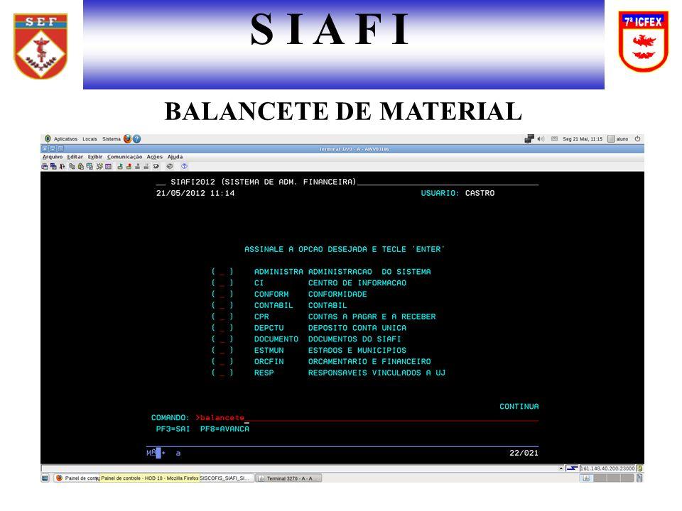 S I A F I BALANCETE DE MATERIAL