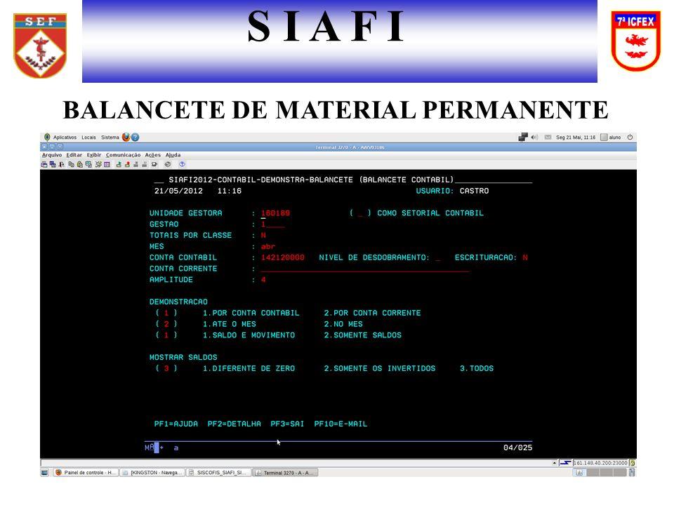S I A F I BALANCETE DE MATERIAL PERMANENTE