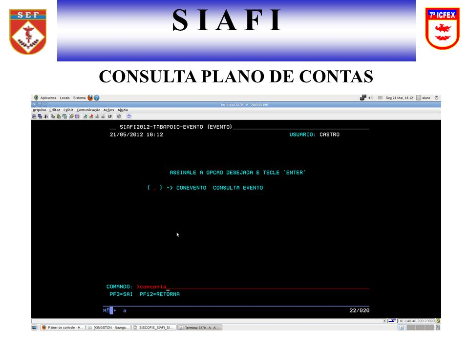 CONSULTA PLANO DE CONTAS