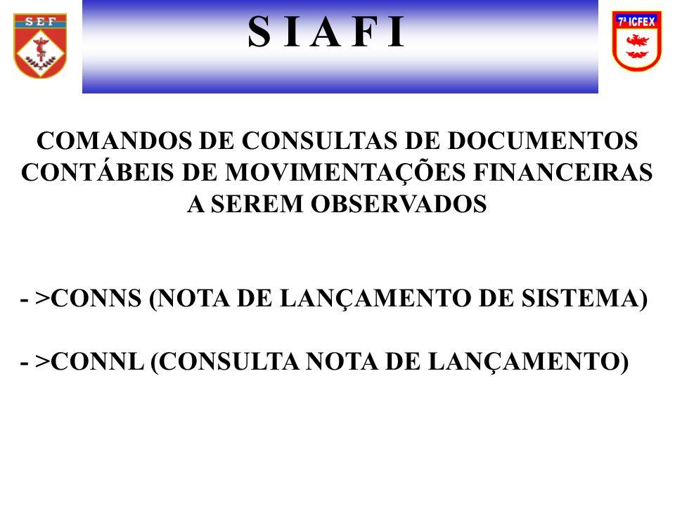 S I A F I COMANDOS DE CONSULTAS DE DOCUMENTOS CONTÁBEIS DE MOVIMENTAÇÕES FINANCEIRAS A SEREM OBSERVADOS.