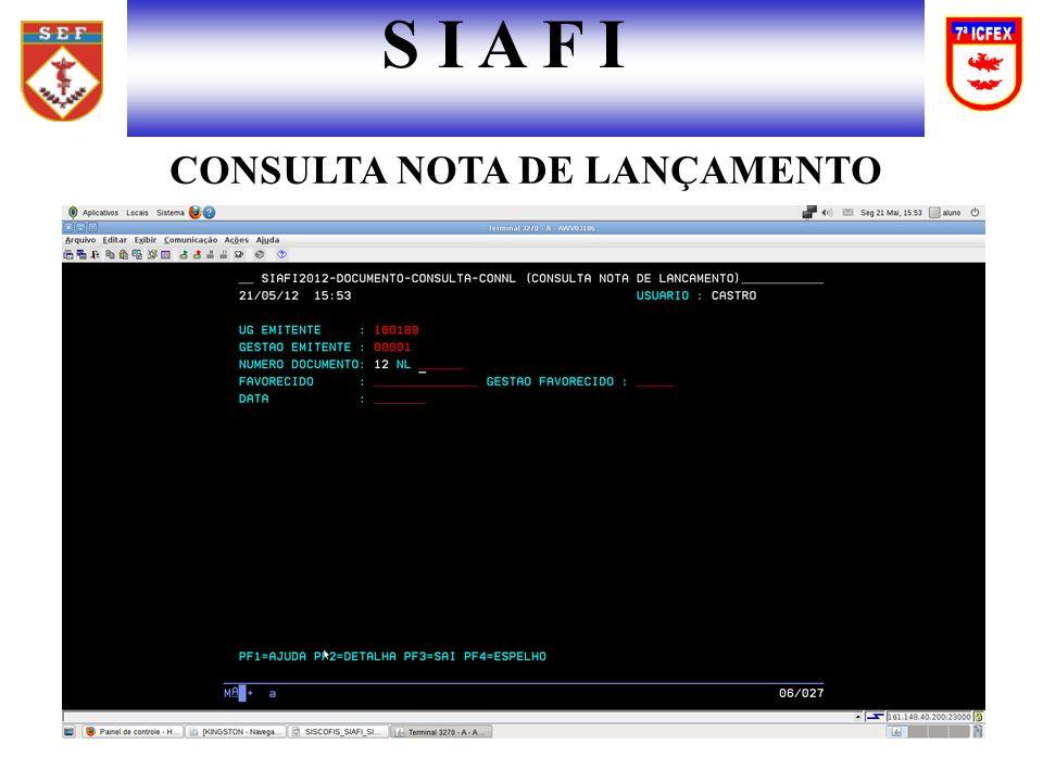 CONSULTA NOTA DE LANÇAMENTO