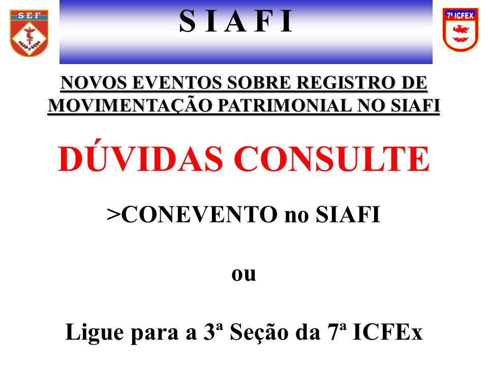 DÚVIDAS CONSULTE S I A F I >CONEVENTO no SIAFI ou