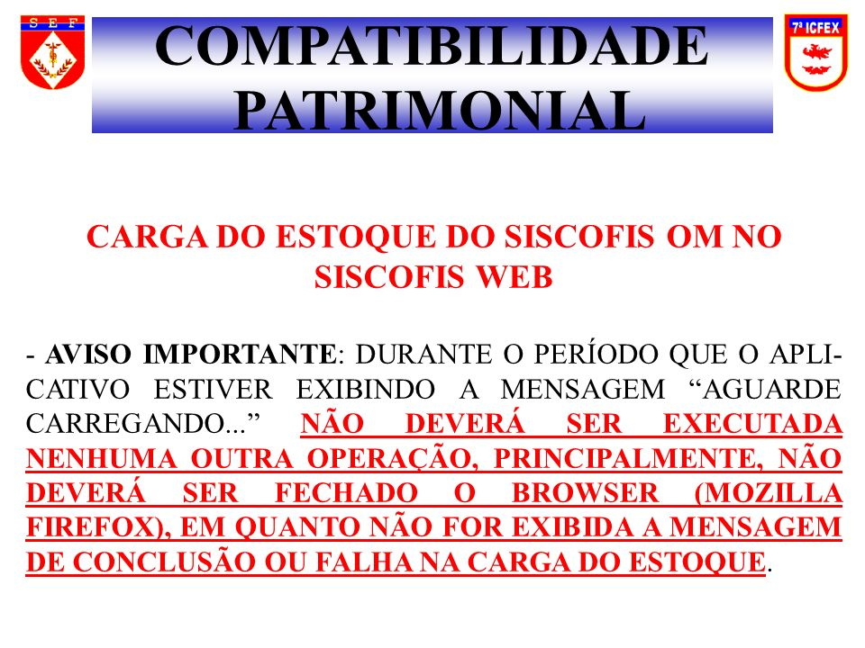 CARGA DO ESTOQUE DO SISCOFIS OM NO SISCOFIS WEB