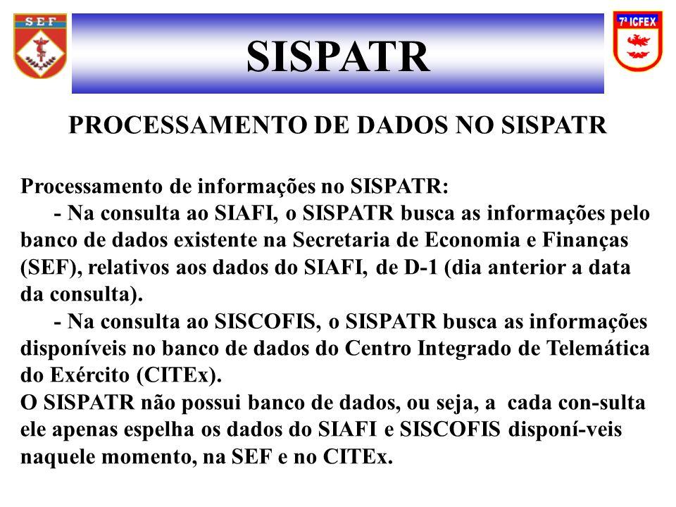 PROCESSAMENTO DE DADOS NO SISPATR
